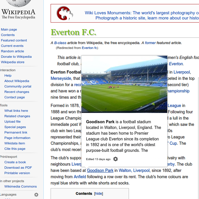 Screenshot of Everton FC's Wikipedia page